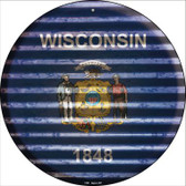 Wisconsin Flag Corrugated Effect Novelty Circular Sign C-959