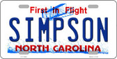 Simpson North Carolina Novelty License Plate LP-11862