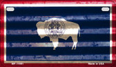 Wyoming Corrugated Flag Novelty Motorcycle Plate MP-11991