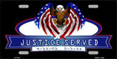 America Justice Served Metal Novelty License Plate LP-4181