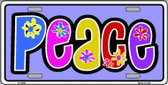 Peace And Flowers Metal Novelty License Plate LP-4288