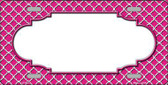Pink White Quatrefoil Center Scallop Metal Novelty License Plate LP-4297
