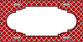 Red White Quatrefoil Center Scallop Metal Novelty License Plate LP-4302