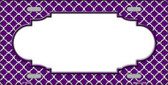 Purple White Quatrefoil Center Scallop Metal Novelty License Plate LP-4304
