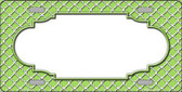 Lime Green White Quatrefoil Center Scallop Metal Novelty License Plate LP-4307