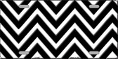 Black White Chevron Metal Novelty License Plate LP-4467