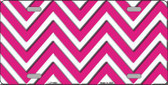 Pink White Chevron Metal Novelty License Plate LP-4468