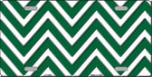 Green White Chevron Metal Novelty License Plate LP-4469
