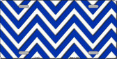 Blue White Chevron Metal Novelty License Plate LP-4470