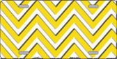 Yellow White Chevron Metal Novelty License Plate LP-4471