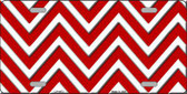 Red White Chevron Metal Novelty License Plate LP-4473