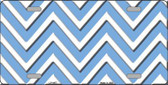 Light Blue White Chevron Metal Novelty License Plate LP-4477