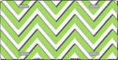 Lime Green White Chevron Metal Novelty License Plate LP-4478