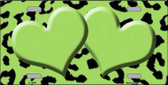 Lime Green Black Cheetah With Lime Green Center Hearts Metal Novelty License Plate LP-4540