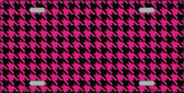 Pink Black Houndstooth Metal Novelty License Plate LP-4560