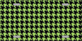 Lime Green Black Houndstooth Metal Novelty License Plate LP-4570