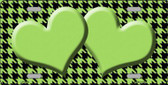 Lime Green Black Houndstooth With Lime Green Center Hearts Metal Novelty License Plate LP-4584