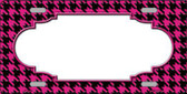 Pink Black Houndstooth With Scallop Center Metal Novelty License Plate LP-4589