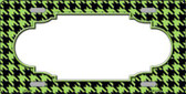 Lime Green Black Houndstooth With Scallop Center Metal Novelty License Plate LP-4599