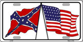 Confederate USA Crossed Flags Metal Novelty License Plate