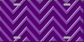 Purple Light Purple Chevron Monochromatic Metal Novelty License Plate LP-4958