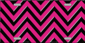 Pink Black Chevron Metal Novelty License Plate LP-4996