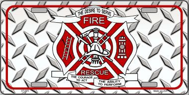 Fire Fighter Rescue Novelty Metal License Plate