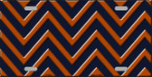 Orange Navy Blue Chevron Metal Novelty License Plate LP-5030