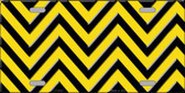 Yellow Black Chevron Metal Novelty License Plate LP-5035