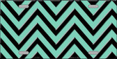 Mint Black Chevron Metal Novelty License Plate LP-5045