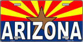 Arizona Flag White Arizona Metal Novelty License Plate Sign