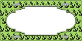 Lime Green Black Anchor Print With Scallop Center Metal Novelty License Plate LP-5324