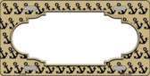 Gold Black Anchor Print With Scallop Center Metal Novelty License Plate LP-5326