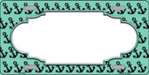 Mint Black Anchor Print With Scallop Center Metal Novelty License Plate LP-5327