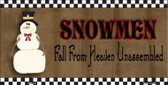 Snowmen Fall From Heaven Metal Novelty License Plate XMAS-24