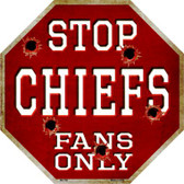 Chiefs Fans Only Metal Novelty Octagon Stop Sign BS-189