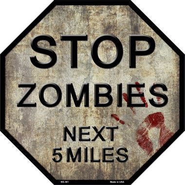 zombies yellow octagon stop sign metal novelty