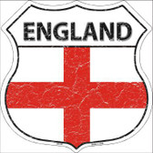 England Country Flag Highway Shield Metal Sign