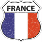 France Country Flag Highway Shield Metal Sign