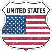 United States Country Flag Highway Shield Metal Sign