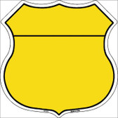Yellow|Black Plain Highway Shield Metal Sign
