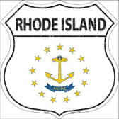Rhode Island State Flag Highway Shield Metal Sign