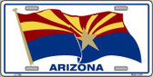 Arizona Waving Flag Novelty Metal License Plate