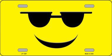 Sunglasses Cool Smiley Novelty Metal License Plate