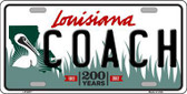 Coach Louisiana Novelty Metal License Plate