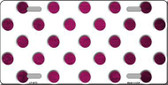 Pink White Dots Oil Rubbed Metal Novelty License Plate