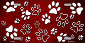 Red White Paw Print Oil Rubbed Metal Novelty License Plate