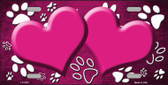 Paw Print Heart Pink White Metal Novelty License Plate