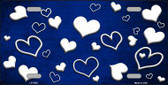 Blue White Love Print Oil Rubbed Metal Novelty License Plate