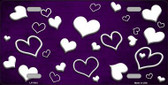 Purple White Love Print Oil Rubbed Metal Novelty License Plate